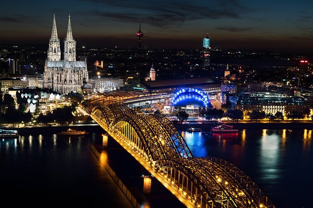 Germany Cologne Skyline at Night