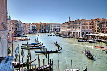 Venice Canal and Gondolas