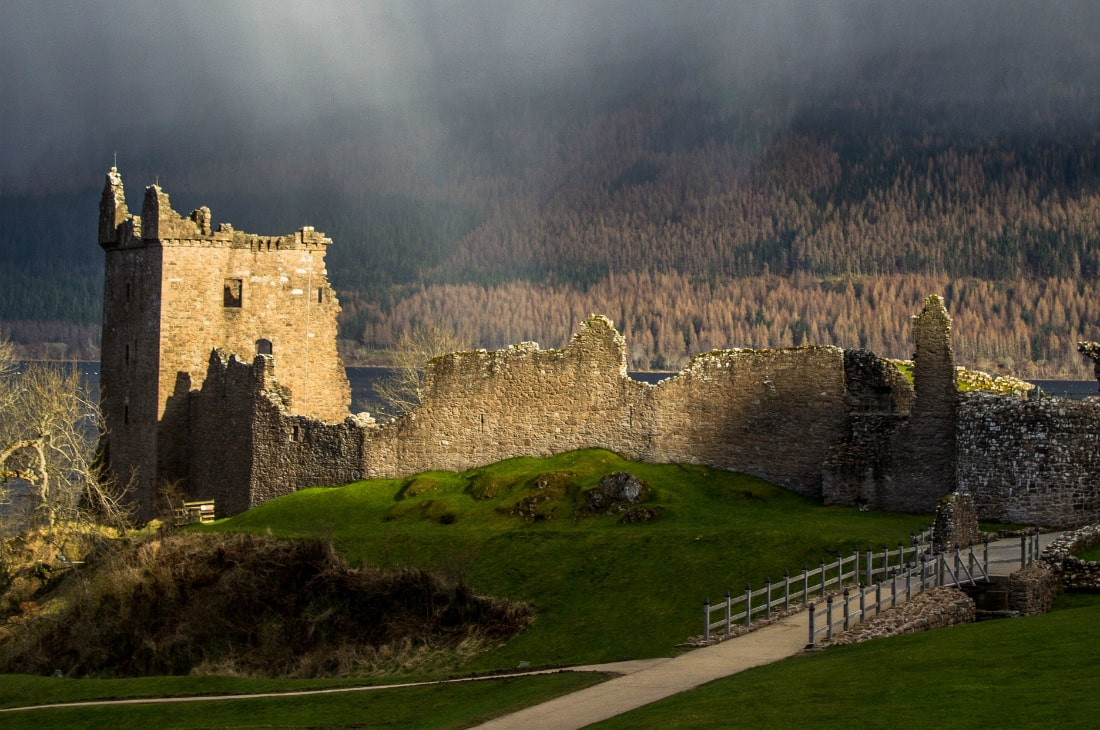 The ruins of Urquhart Castle on the shores of Loch Ness